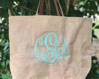 SALE!!!!!! 19.98 !!!!!  Monogram Jute Tote Bag, MudPie Brand, Bridesmaid gifts, Monogram