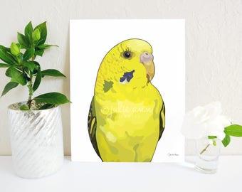 Parakeet Art Print, Yellow Budgie Print, Budgies Decor, Parrot Print, Bird Print, Parrot Painting, Bird Gift, Bird Memorial, Parakeet Gift