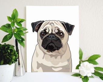 Pug Art Print, Pug Dog Art, Pug Decor, Pug Wall Art, Dog Art, Pug Art, Cute Pug Art, Pug Puppy, Dog Wall Art, Gift for Pug Lover, Dog Decor