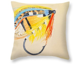 Fly fishing pillow etsy for Fly fishing decor