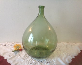 CLASSIC, 15L.. Large Vintage French, Glass Demi-John, Hand Blown Green Glass, Wine Bottle Capacity, 15 Litres. Beautiful Condition..