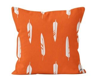 Feathers Pillow Cover, rustic pillow, orange pillow, bird pillow, rustic decor, animal pillow, man cave decor, choose color, c pillow