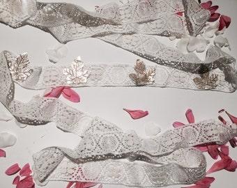 White lace and leaf headband