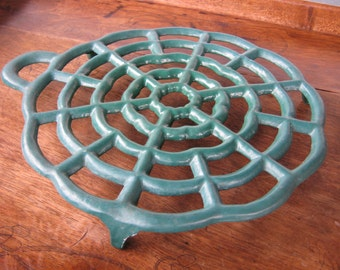 French Enamel Trivet, Vintage Cast Iron Green Trivet