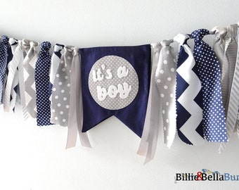 Baby Boy Shower decorations, Its a boy banner, navy, grey, gray, blue, tassel, garland, fabric bunting, Baby Announcement, sign, backdrop