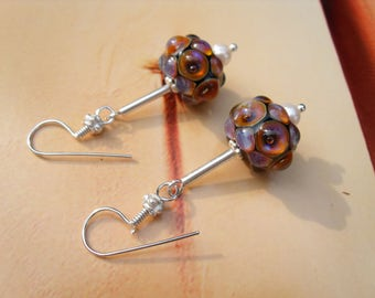 LAMPWORK EARRINGS night magic glass stained silver freshwater breeding Pearl