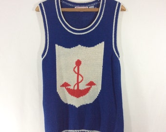 Womens Vintage Nautical Sailor Knit Sweater Vest with Anchor size M