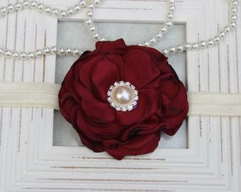 Wine headband, wine flower girl headband, boutique headband, burgundy headband, dark red headband, wine hair accessory burgundy flower