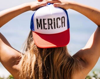 MERICA snapback trucker hat ONE SIZE, baseball, yoga, pilates, barre, workout hat