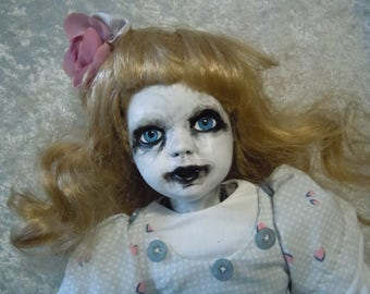 Altered Doll Creepy Doll #113 day of the dollies