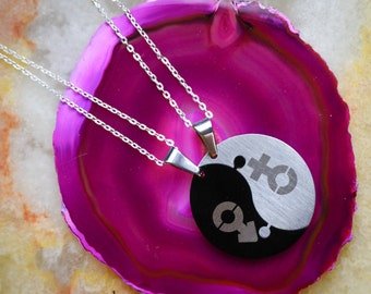 Male & Female Double Charm, Yin Yang Jewelry,His and Hers Interlocking Pendant, Stainless Steel Pendant, Black And White Pendant,