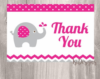 Thank You Card, Pink Elephant Printable Thank You Card, Elephant Thank You Cardl, Instant Download, Baby Shower Thank You Card