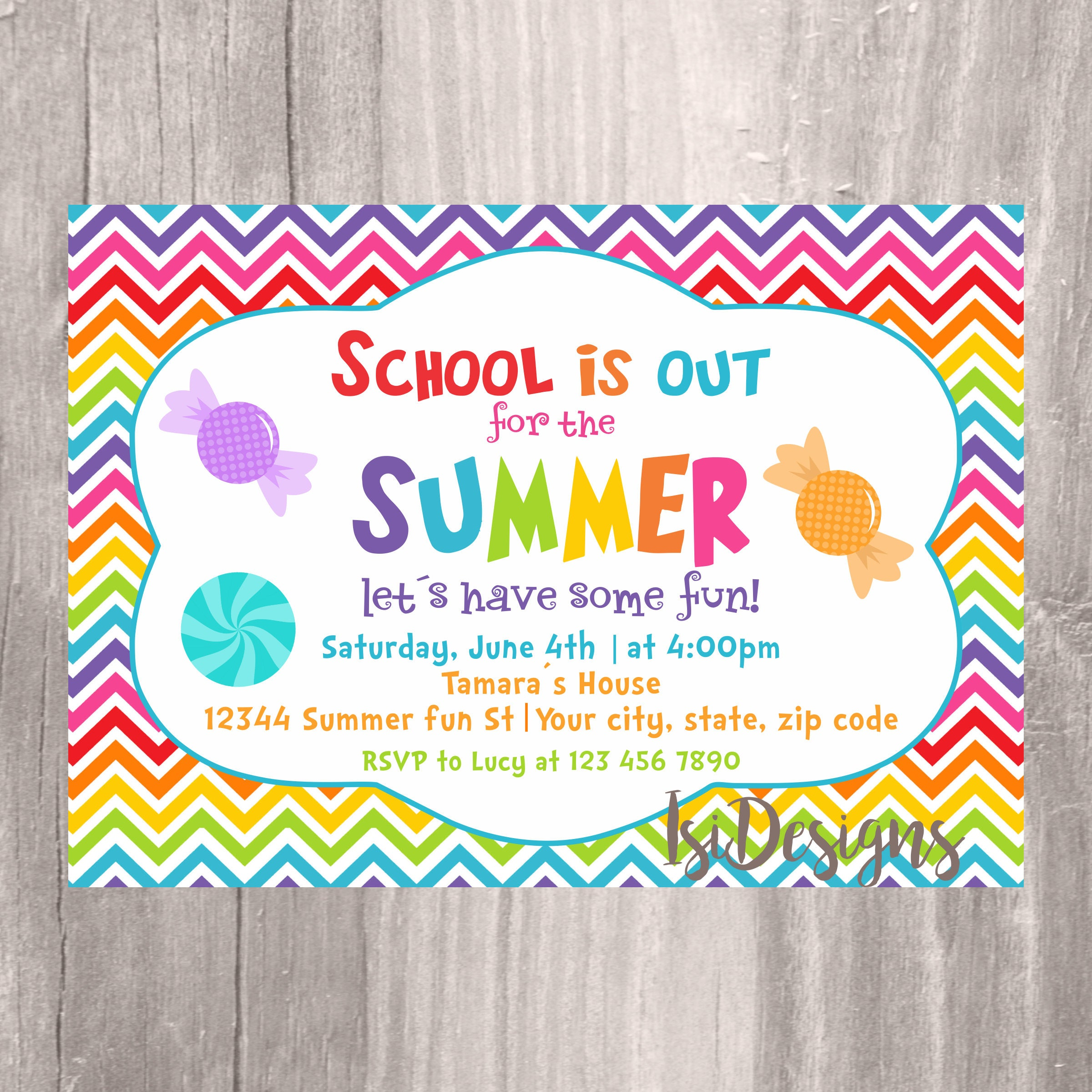 end of the year party invitation summer party school 39 s. Black Bedroom Furniture Sets. Home Design Ideas