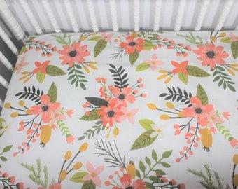 Sprigs and Flowers crib sheet, Baby Girl Crib sheet, Coral floral crib sheet, baby shower gift, boho chic crib sheet, Spoonflower cirb sheet