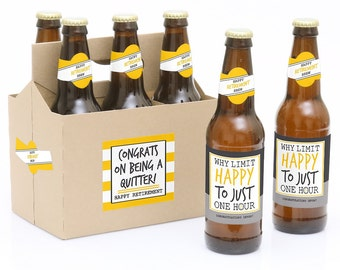 Retirement Party - 6 Beer Bottle Labels & 1 Carrier Personalized Gift - Waterproof