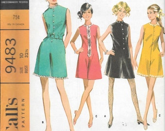 Vintage 1960s McCall's Sewing Pattern 9483- Misses' Pantdress in Six Versions size 10 bust 32 1/2 uncut FF