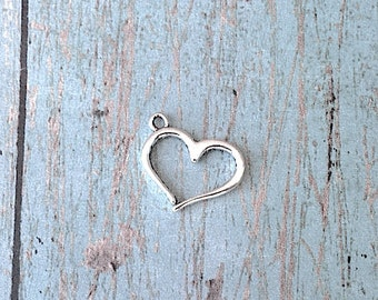12 Small heart charms antique silver tone (2 sided) - silver heart pendants, valentine charms, love charms, sweetheart charms, Y14