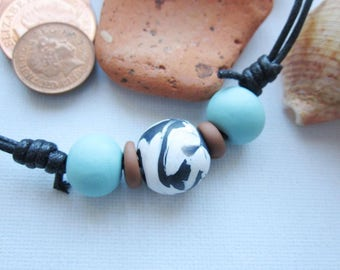 Men's beaded necklace, cord necklace for men, men's polymer clay and cord necklace, men's necklace