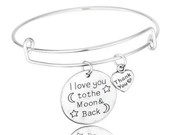 I Love You To The Moon and Back Bangle Bracelet