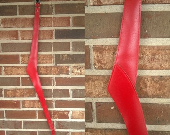 """1980s Edgy Red Vegan Leather Belt, 33"""""""