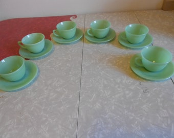 Fire King Jane Ray Cup and Saucers - Six