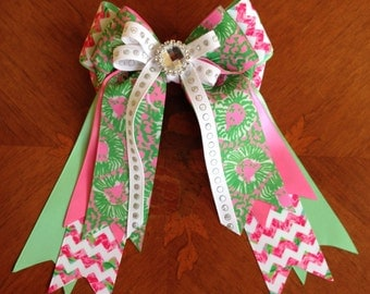 Equestrian Hair Bows/Lilly Inspired pink green chevron/sparkle gem