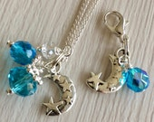 Moon Charm Pendant, Christmas Present, Crystal and Bead Pendant, Ladies Pendant Gift, Gifts for Her, Moon Pendant, Blue Bead Pendant, Et 153