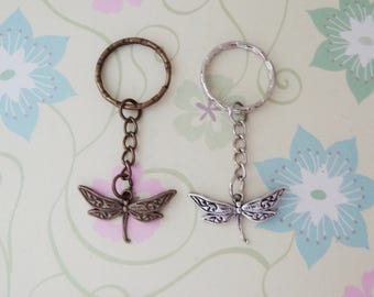 Bronze or Silver Dragonfly Keychain - Ready to Ship