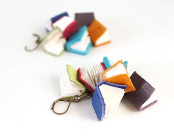 Mini Book Cluster Earrings, Leverback Earrings, Tiny Real Leather and Paper Book Charm Dangle Drop Earrings, Gift for Librarian, Teacher