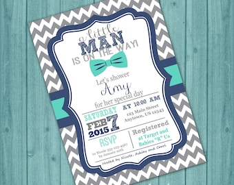 Little Man Baby Shower Invitation Bowtie Invitation PRINTABLE Invite Gray Chevron Navy Blue Teal Invitation, Custom DIY Digital Printable