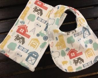 Farm baby bib and burp cloth set in Farm Fresh fabrics