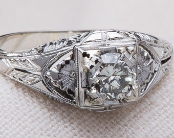 ESTATE ENGAGEMENT Ring - 18k White Gold - Genuine Diamond