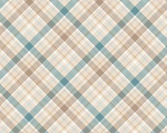 45'' Henry Glass and Co. I Still Love Snow Cream Plaid Flannel by the Yard F6794-13
