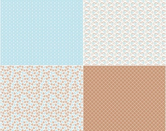 Aqua Fat Quarter Panel from Sew Cherry 2 by Lori Holt for Riley Blake Fabric