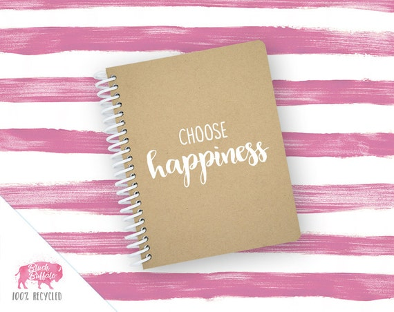 Spiral Notebook | Spiral Journal | Notepad | 100% Recycled | Choose Happiness | BB069SM