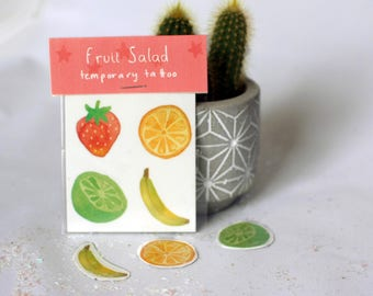 Fruit Salad Temporary Tattoos // Strawberry Banana Orange Lime // Transfers