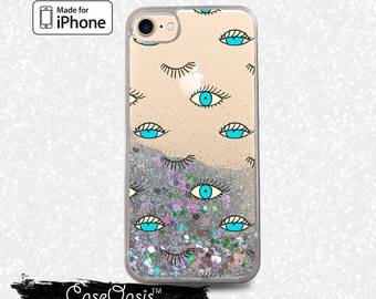 Blue Eyes Pattern Eyelashes Lashes Cute Liquid Glitter Sparkle Case for iPhone 6 and 6s iPhone 6 Plus and 6s Plus iPhone 7 and iPhone 7 Plus