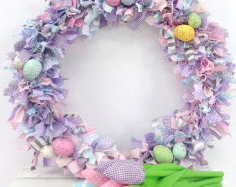 Fabric wreath/Easter wreath/Spring Wreath-READY TO SHIP!