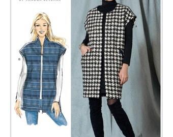 Vogue Pattern V1528 Misses Open-Front, Drop-Shoulder Vests