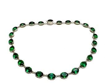 RARE English Riviere Victorian Emerald paste Rivière green Enamel Sterling silver Riviere necklace