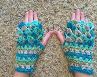 Fingerless dragon scale gloves; kid/teen size