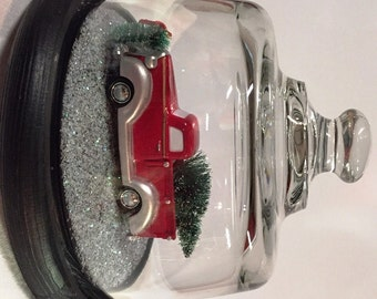 Handmade Christmas Domed Pickup Truck With Holiday Decorations New