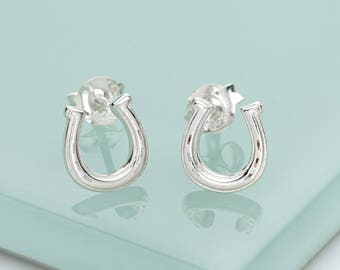 Sterling Silver Lucky Horseshoe Stud Earrings