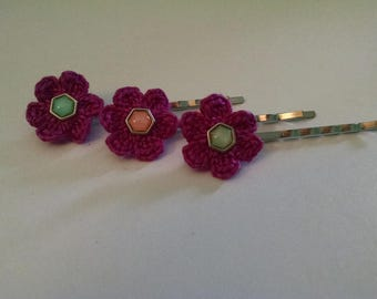 Set of 3 flower Bobby pins