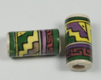 Tumi x 10 clay fair trade tube beads, yellow, purple, green, red, black,  hand painted in Peru, 17mm with 3mm hole (bp546)