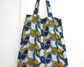 Shopping bag, reusable tote bag, folding bag for shopping in African wax fabric with blue geometric pattern and assorted pocket for storage