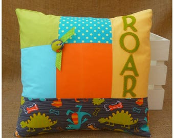 Dinosaur Cushion, Dino Pillow, Dinosaur Bedroom Decor, Dinosaur Pillow, Gift for Kids, Childrens Cushion, Kids Pillow, Dinosaur Roar, Dinos