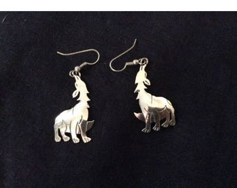 Howling at the moon wolf/ coyote sterling silver earrings