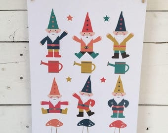 Dancing Garden Gnomes print