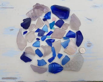 LILAC LAVENDER BLUE Sea Glass Collection ~ English Seaglass ~ Beach Glass ~ Mudlarking Thames ~ Shards Embossed